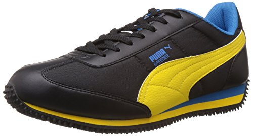 Puma Men's Speeder Tetron II Ind. Black-Dandelion-Blue Running Shoes - 6 UK/India (39 EU)  available at amazon for Rs.1749