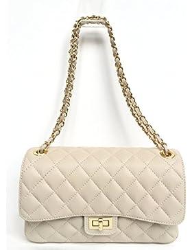 SUPERFLYBAGS Damen handtasche Schultertasche Echtes Leder Gesteppte Nappa model Parigi Classic Made in Italy