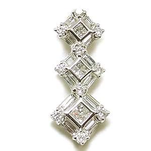 Pendentif Triptyque en Or Blanc 750/1000, Diamants et Diamants Taille Baguette