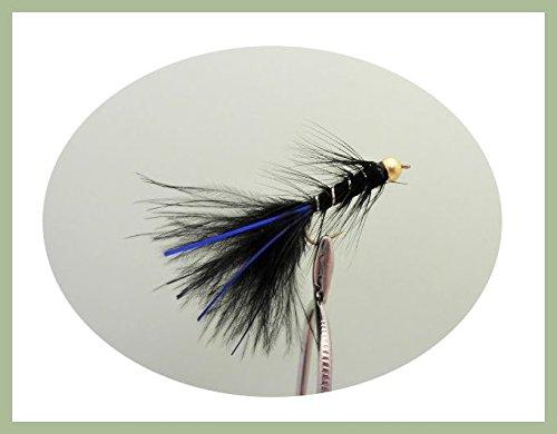 Blue flash damsel lure flies size 10 pack of 6