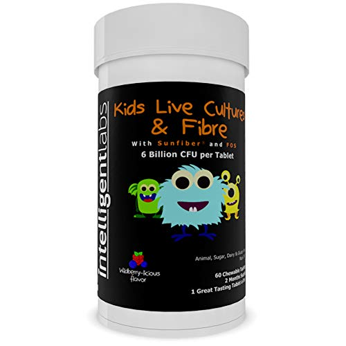 6 Billion CFU Intelligent Labs Kids/Children's Live Cultures and Fibre,  Kids Will Love The Great Taste! with Sunfiber and FOS, One A Day Chewable