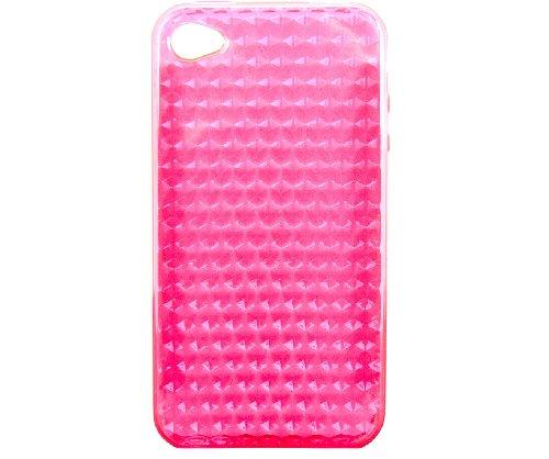 Nuova Custodia Cover in Silicone per iPhone 4 4S con effetto Diamante - Rosa