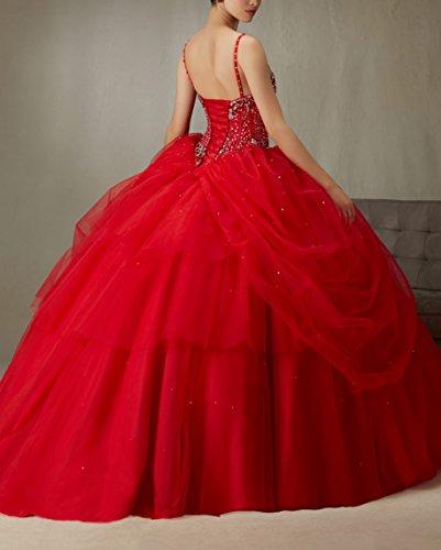 Bridal_Mall Damen Geburtstags Party Kleid Spaghetti Ballkleid Prom Quinceanera Kleid Blue