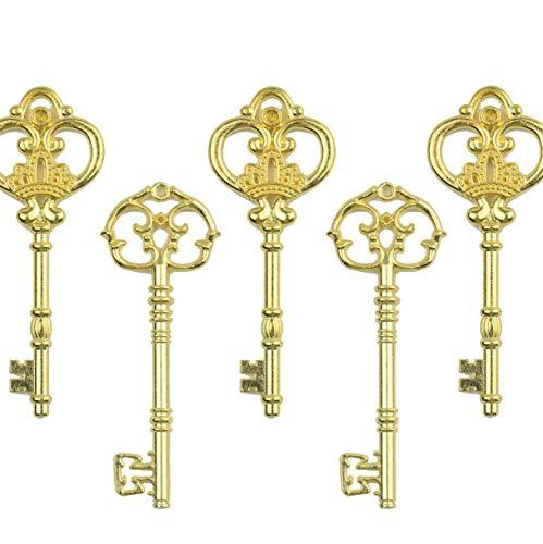 Makhry Mixed Set von 20 Extra Große Skelettschlüssel in Antik Gold - Set von 20 Tasten (2 Styles) - 3 1/4 Zoll Keys (Antikes Gold)