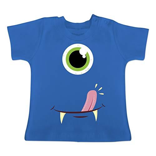 Kostüm Gesichter 2 - Karneval und Fasching Baby - Monster Gesicht Kostüm - 1-3 Monate - Royalblau - BZ02 - Baby T-Shirt Kurzarm