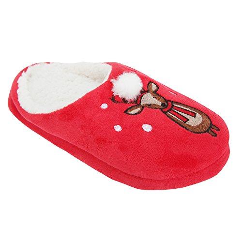 Pantofole a tema natalizio con animaletto - Donna Red
