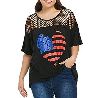 Dtuta Haut à Manches Courtes Pour Femmes, T-Shirt à Drapeau AméRicain