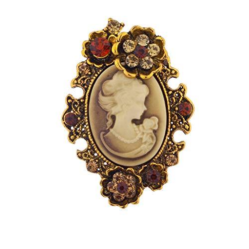 Lux Accessories Lux Zubehör Antik Braun Cameo Brosche brüniert Gold Blume Maschine Steinen
