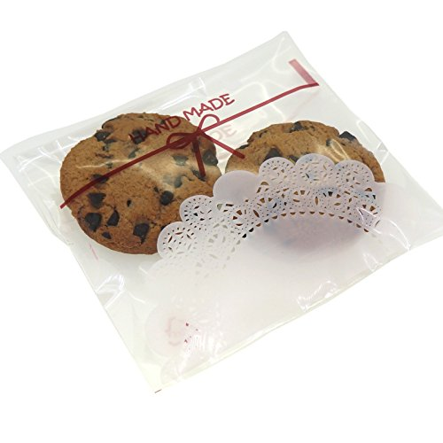 Clear Bowknot Cookie Candy Sweet Party Gift Wrapping Packaging Bags, Pack of 95, 10x10cm