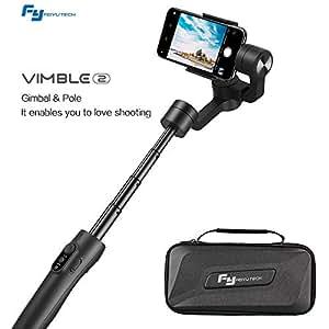 FeiyuTech Vimble 2 Stabilizzatore di Smartphone a 3 Assi, Gimbal di Smartphone per iPhone Huawei Samsung con Asta Telescopica Regolabile Fino a 18CM, Tripode e Custodia da Trasporto (Nero)