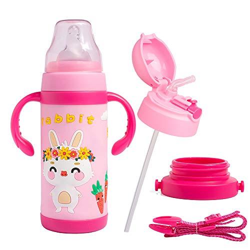 XCQZN Edelstahl Cartoon Isolierflasche Thermoskanne Tier Vakuumflasche Thermoflasche Kinder Becher Mit Lanyard Für Kinder,Rosa,380ML