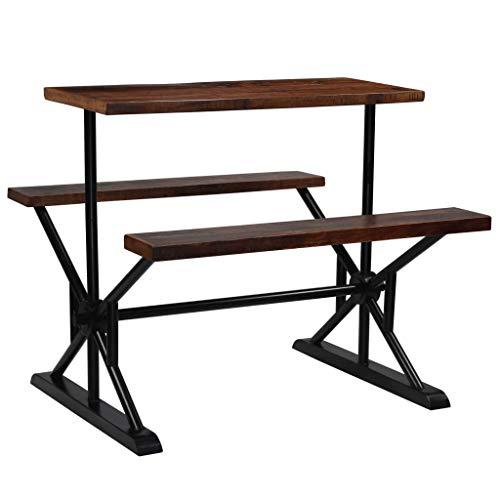 junhaofu Möbelgarnituren Küchen- & Esszimmergarnituren Bartisch mit Sitzbänken Recyceltes Massivholz 120×50×107 cm
