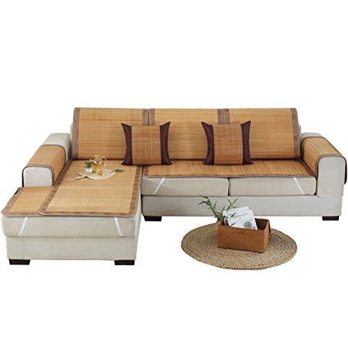 Estate stuoia di bambù copridivano,antisdrucciolo,fodera per divano semplice,copertina,divano ammortizzazione,combinazione di pad freddo di estate,moderna-a 60x60cm(24x24inch)
