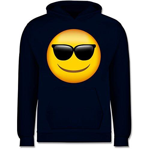 Kleinkind Apple Kostüm - Shirtracer Anlässe Kinder - Emoji Sonnenbrille - 12-13 Jahre (152) - Navy Blau - JH001K - Kinder Hoodie