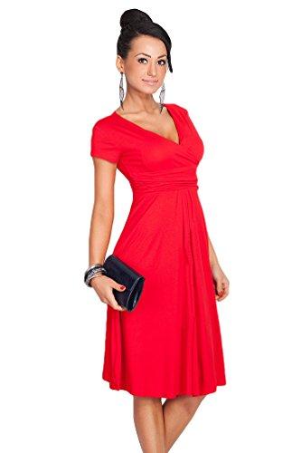 YuanDian Femme été Elegante Profond V Col Manche Courte Taille Empire Patineuse Robe Longueur Genoux Midi Swing Robes Rouge