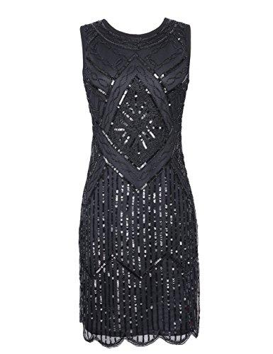 kayamiya Damen 1920er Pailletten Fransen Perlen Gatsby Flapper Abendkleid M Schwarz