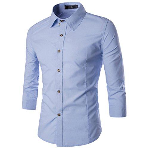 Men's Fashion Trim Slim Fit Three Quarter Sleeve Shirts Lt Blue