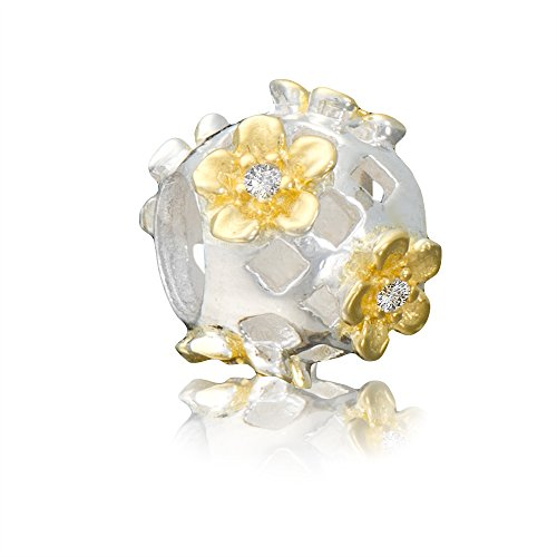 terling Silber Gold Bead * Gänseblümchen * mit Zirkonia Element Kugel für European Beads Modul Armband + Organzasäckchen ()