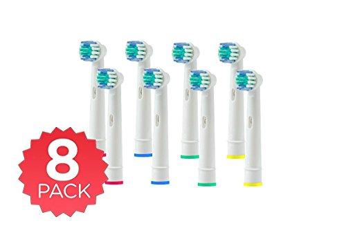 genkent 8(4x 2) Ersatz-Zahnbürstenköpfe für Oral B Precision Clean/FLEXISOFT (SB-17A) Zahnbürste vollständig...
