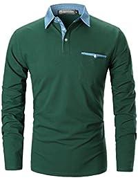 GHYUGR Polo para Hombre Mangas Largas Denim Costura Camisas Algodón Slim  Fit Camiseta Golf Poloshirt T 598e493252f
