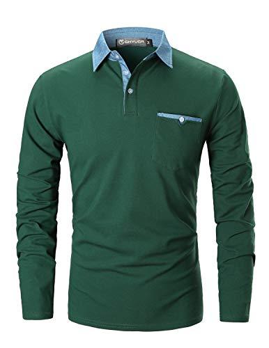 GHYUGR Polo Hombre Mangas Largas Denim Costura Camisas