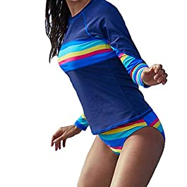 Yefree Manica Lunga da Donna 2 Pezzi a Maniche Corte Costumi da Bagno a Maniche Corte con Protezione UV e Girocollo