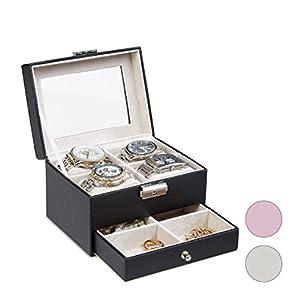 Relaxdays Uhrenbox mit Sichtfenster, Schmuckkästchen für 4 Uhren, abschließbare Kunstleder Box, HxBxT: 11×16,5×12,5 cm