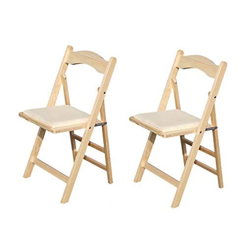 ECSD Multifonctionnel Blanc Bois Chaises Pliantes, Simple Et Unique Chaise D'extérieur Portable Massif Chaise Dossier en Bois, Pack-2 (Couleur : Couleur du Bois)