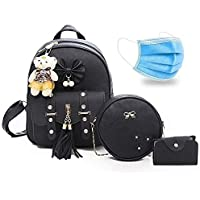 NRST Stylish Cute Mini PU Leather Backpack & Sling Bag Set for Women, School & College Girl's 3PCS Combo Set (Black)