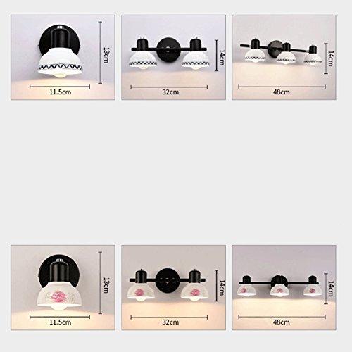 H&Y HY Keramik Wandleuchte - Spiegel Licht Bad WC Bad Kommode Kosmetikspiegel Gang Korridor Schlafzimmer Küche Wohnzimmer Wandleuchte yffs (Farbe : Three Heads B) -