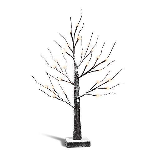 Zanflare luci dell'albero di neve, 0.6m 24 led albero betulla con lampada, luminoso decorativo lampada a batteria, bianco luci rami, per casa, natale, matrimonio, festa, ecc【batterie non incluse】