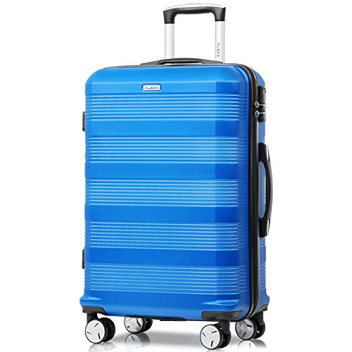 Flieks Reisekoffer Kofferset Hartschale 4 Zwillingsrollen Trolleys Gepäck Koffer Handgepäck, 61,5cm, 35 Liter (Blau, M) (Gepäck Koffer)