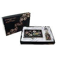Mother of Pearl Lily fleur design Porte-clés Support Business crédit Nom Porte Carte d'identité Slim Argent cas de