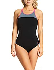 Zoggs Women's Rona X Back High Neck with Adjustable Straps Eco Fabric One Piece Swimsuit