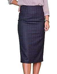 Lässiger Warme Winter Wolle Wool Rock Bleistift Blauer Karo Größe EU 36 38  40 42 44 f485cbde43