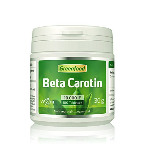 Beta Carotin, 10000 iE, hochdosiert, 180 Tabletten, vegan - Vorstufe von Vitamin A (schöne, gesunde Haut; gute Augen). OHNE künstliche Zusätze. Ohne Gentechnik.