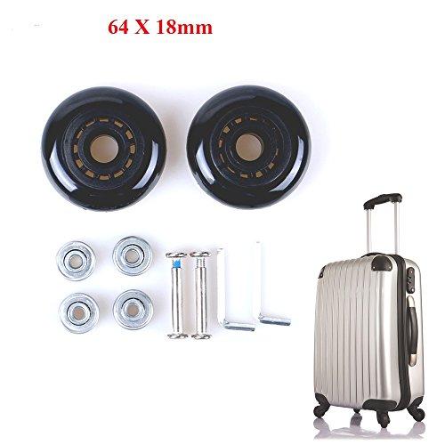 Fresh66 Paar Gepäck-Koffer Ersatz Wheels Rad Gummi Metall für Trolley Gepäckkoffer Hartschalenk ffer (64X18MM)