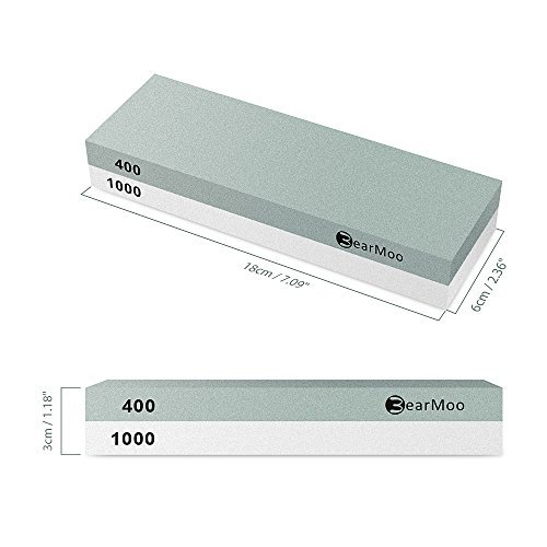 41Mds7imaBL. SS500  - BearMoo Sharpening Stone, 2-IN-1 Whetstone, 400/1000 Grit Knife Sharpening Stone - Waterstone - Rubber Stone Holder…