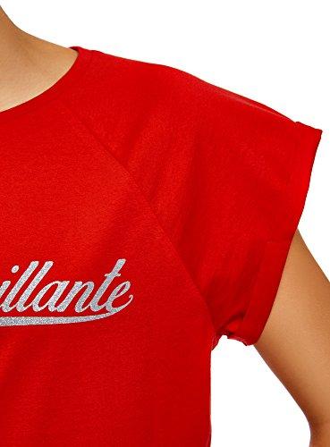 oodji Ultra Damen T-Shirt mit Verzierung auf der Brust und Unbearbeitetem Saum Rot (4591P)