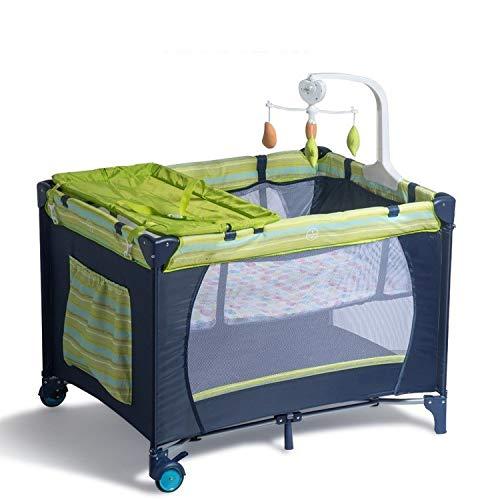 Imagen para Yankuoo Multifuncional Doble Cuna portátil Plegable Transpirable Cuna del bebé Viaje Sleep System Cama Juego de Cama (0-36 Meses) (Color : Blue)