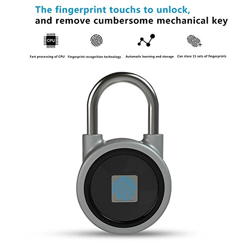 Preisvergleich Produktbild i-HOME Bluetooth Fingerabdruck Vorhängeschloss – IP65 Wasserdicht Smart Security Lock mit 15 Sets von Fingerabdruck Geeignet für Haus Tür,  Büro,  Fitnessstudio,  Koffer,  Rucksack,  Bike