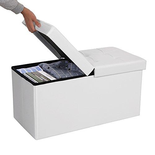 comprare on line SONGMICS 80 L Pouf Contenitore con Coperchio Ribaltabile Poggiapiedi Capacità di Carico di 300 kg Bianco 76 x 38 x 38 cm LSF45WT prezzo