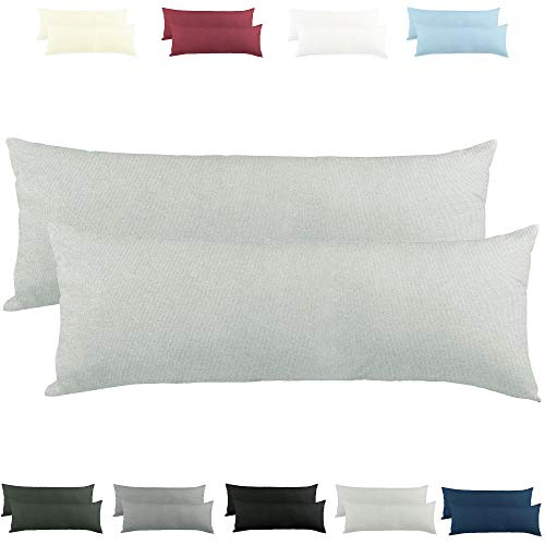 CelinaTex Active Seitenschläferkissen Bezug Doppelpack Set 40x145 Silber grau Baumwolle Jersey Stillkissen Kissenhülle 5001563