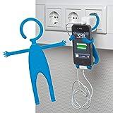 Lustiger Ladehalter Handyhalter passend z.B. für iPhone 7 Plus, iPhone 7, iPhone 6s Plus, LG G6, Samsung Galaxy S8, S8+, Galaxy S7, S7 edge, Sony Z5 Premium usw Blau