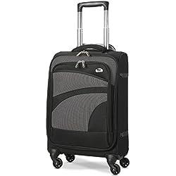 Aerolite Bagage Cabine Bagage à Main Valise Souple Légere à 4 roulettes, pour Ryanair, Easyjet, Air France, Lufthansa, Jet2, Monarch Plus, Noir/Gris
