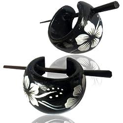 Chic-Net Hawaii pendientes aro de madera flor pin pendientes pintados Pin Pendientes Madera Cuerno Pin mano blanco y negro de 16 mm