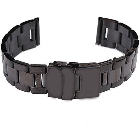 Time4Deal® 18 20 22 24mm Reloj de acero inoxidable Correa de la correa de doble bloqueo de giro pulsera (Negro, 18MM)