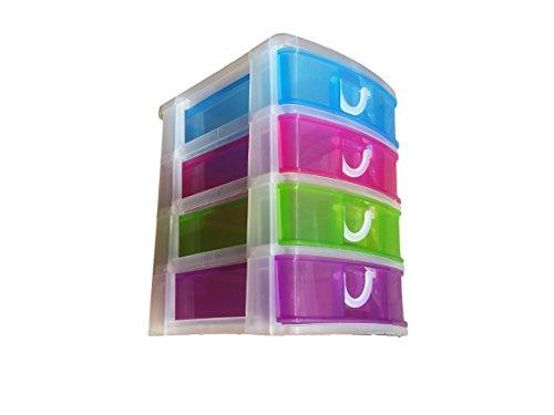 Cflagrant Schubladenbox / Bürobox mit 4 Schubfächern, Mehrfarbig