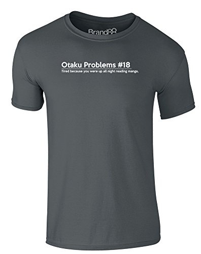Brand88 - Otaku Problems #18, Erwachsene Gedrucktes T-Shirt Dunkelgrau/Weiß