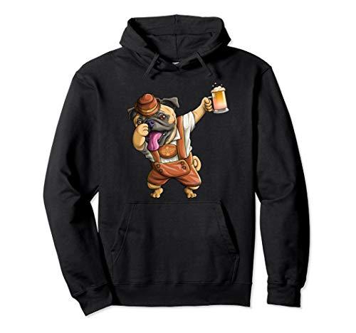 Dabbing Mops Lustige Lederhosen Oktoberfest Männer Bier  Pullover Hoodie